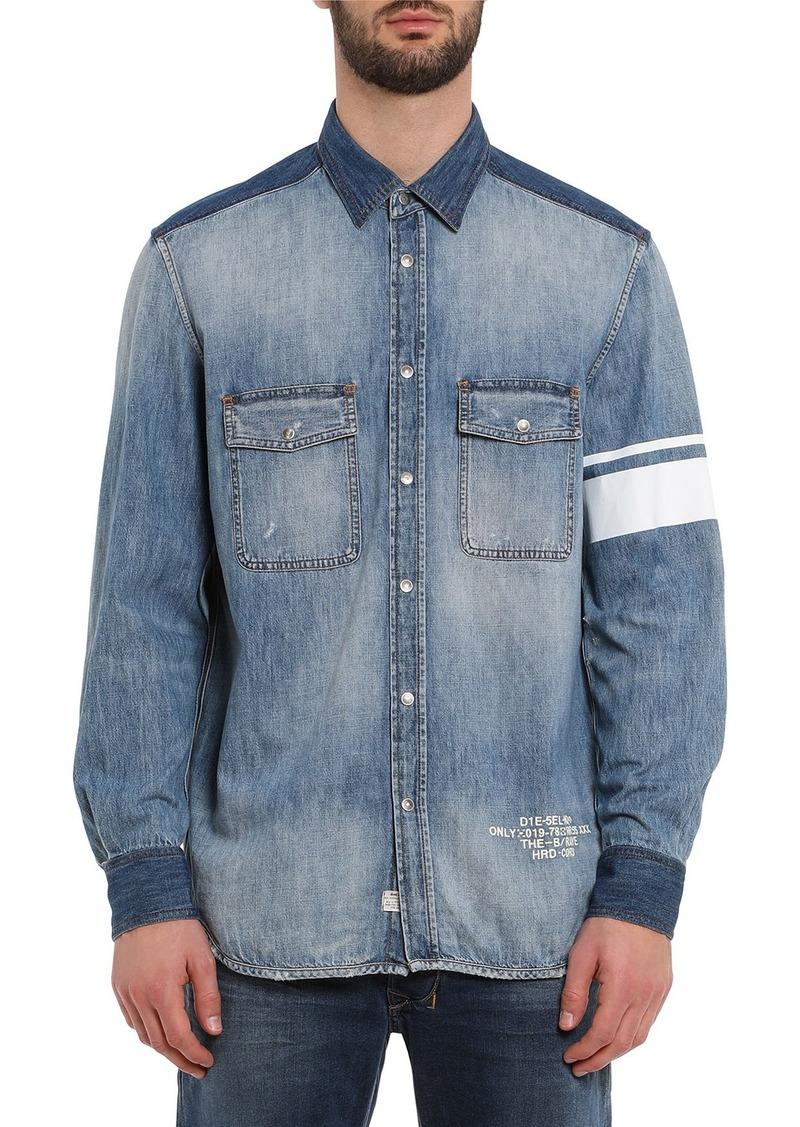 Diesel Men's Miller Striped-Armband Chambray Shirt