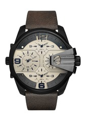 Diesel Men's Uber Chief Chronograph Leather Strap Watch, 55mm