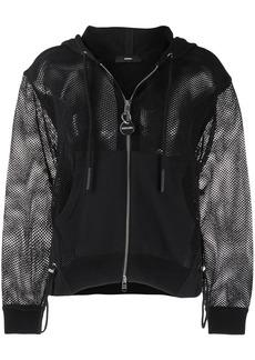 Diesel mesh-sleeve zip-front hoodie