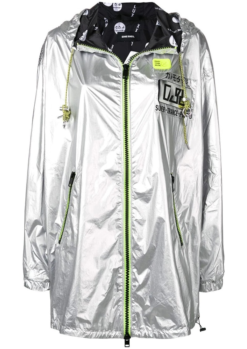 Diesel metallic jacket with fluorescent accents