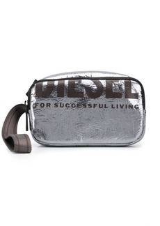 Diesel metallic logo make up bag