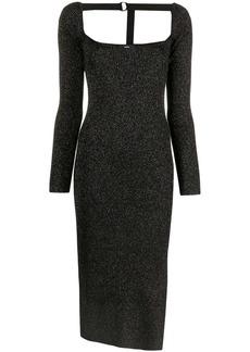 Diesel metallic ribbed-knit midi dress