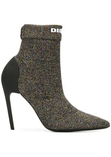 Diesel metallic sock ankle boots
