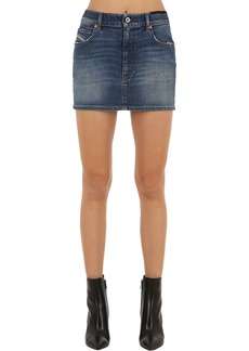 Diesel Mid Rise Cotton Denim Mini Skirt