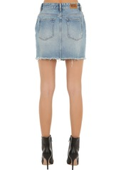 Diesel Mid Rise Distressed Cotton Denim Skirt