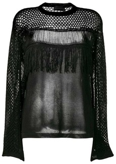 Diesel openwork mesh knitted top