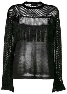 Diesel openwork mesh knitted top