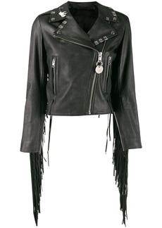 Diesel painted fringed biker jacket
