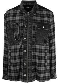 Diesel panelled plaid flannel shirt