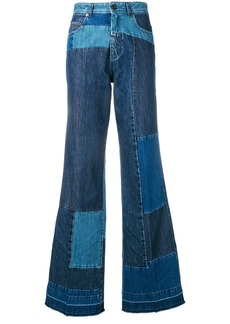 Diesel patchwork bootcut jeans