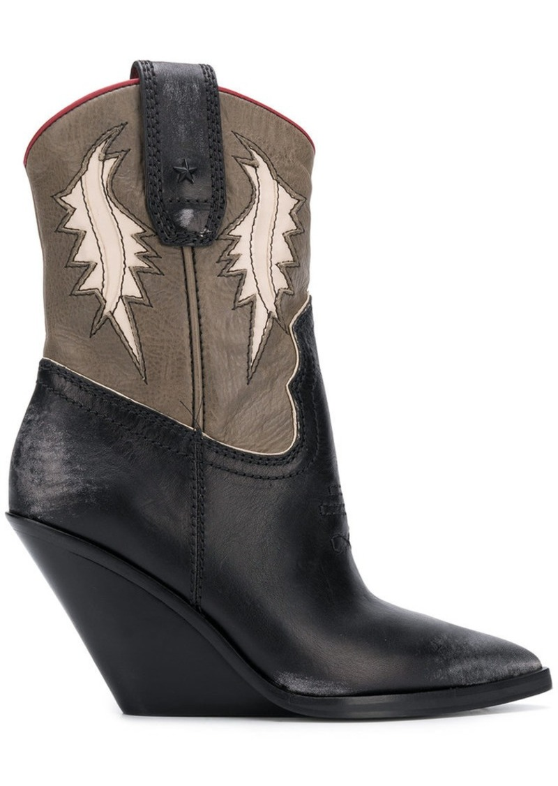 Diesel pointed wedge cowboy boots