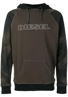Diesel print panel hoodie