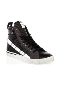 Diesel Quilted Leather High-Top Sneakers
