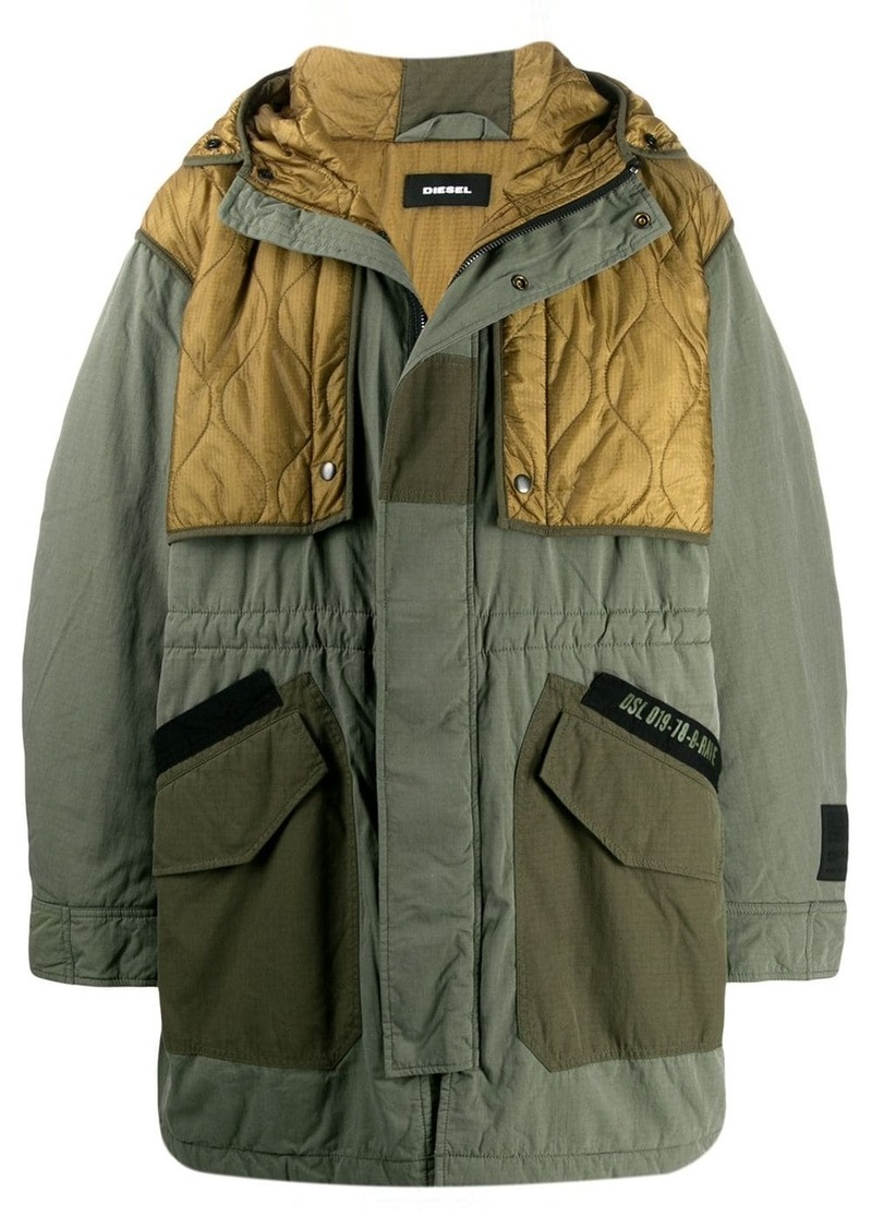 Diesel quilted panels parka