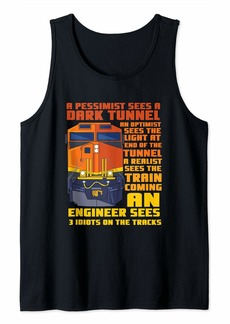 Diesel Railroad Train Engineer Sees 3 Idiots On The Tracks Tank Top