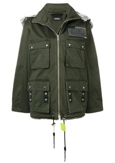 Diesel retractable hood military jacket