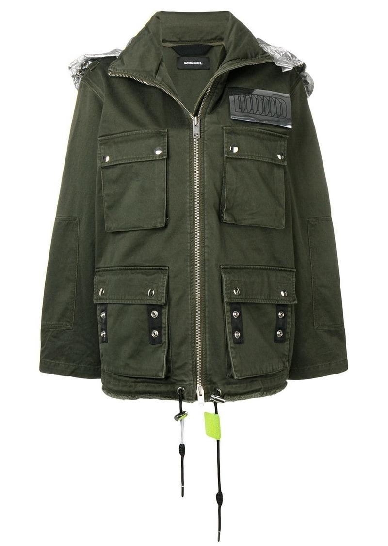 Diesel retractable hood military jacket