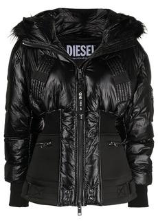Diesel ribbed-hem padded jacket