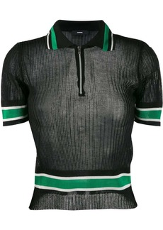 Diesel ribbed zip polo top