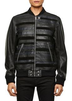 Diesel Roger Mix Media Leather Bomber Jacket