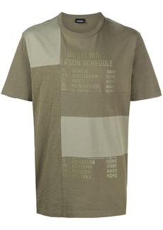 Diesel Schedule-print patchwork T-shirt