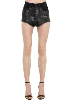 Diesel Sequined Cotton Blend Denim Shorts