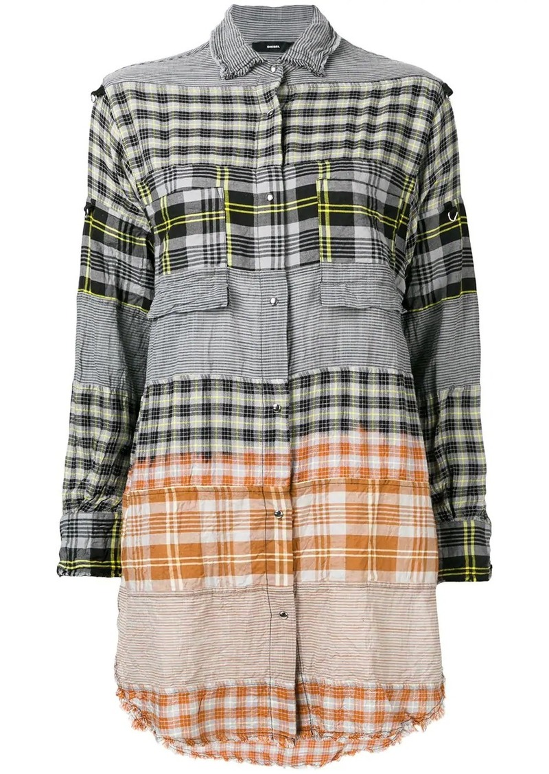 Diesel shirt dress with check-pattern