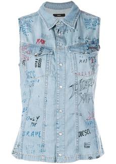 Diesel sleeveless fitted denim shirt