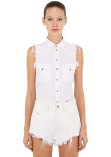 Diesel Sleeveless Raw Cut Cotton Denim Shirt