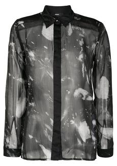 Diesel smudge print sheer shirt