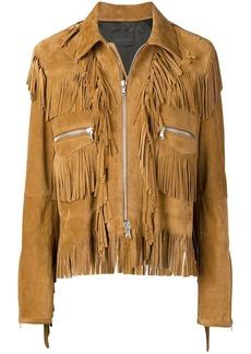 Diesel split suede jacket with fringes