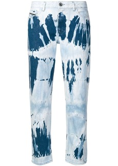 Diesel straight jeans in tie-dye denim