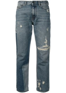 Diesel straight jeans with bleached patch