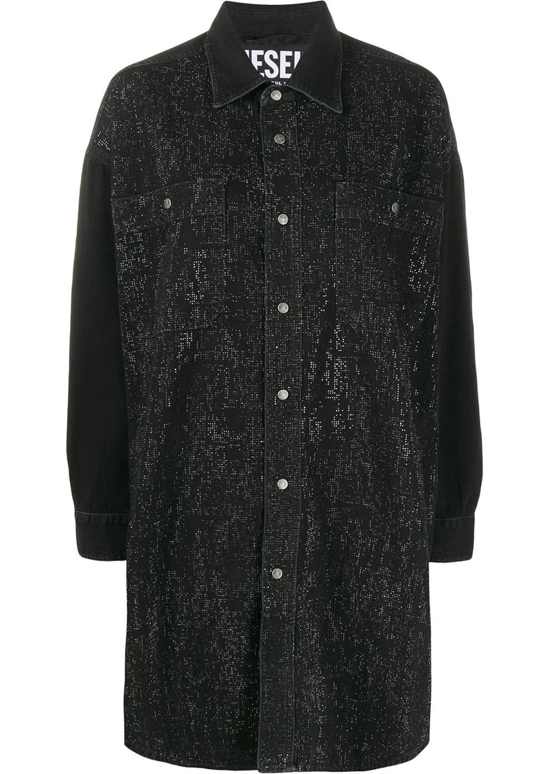 Diesel strass denim shirt dress