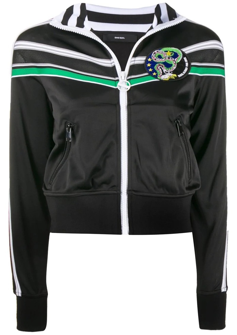 Diesel striped detail zipped jacket
