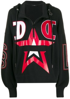 Diesel stud detail hooded sweatshirt