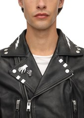 Diesel Studded Leather Perfecto Jacket W/ Print