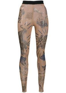 Diesel tattoo print sheer leggings