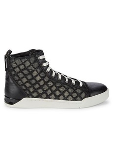 Diesel Tempus DIamond-Stitched Leather High-Top Sneakers