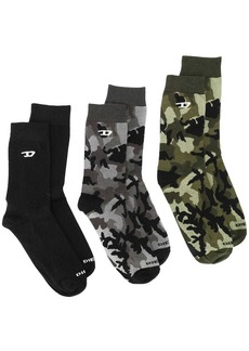 Diesel three-pack of socks plain and camo