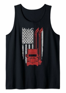 Truck Driver America Flag Cool Diesel Car Auto Tank Top