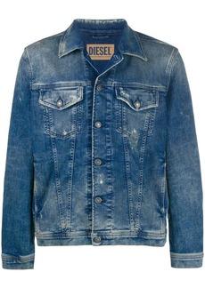 Diesel Trucker jacket in ripped denim