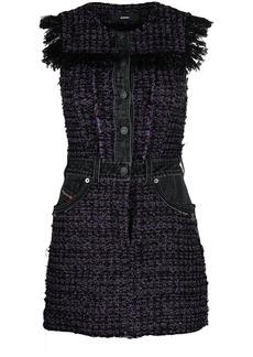 Diesel tweed denim-embellished mini dress