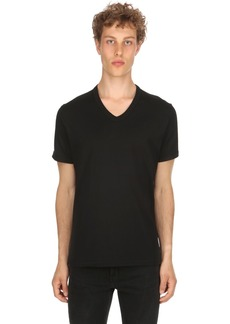 Diesel V Neck Cotton Jersey Basic T-shirt