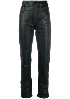 Diesel waxed-effect high-waisted trousers