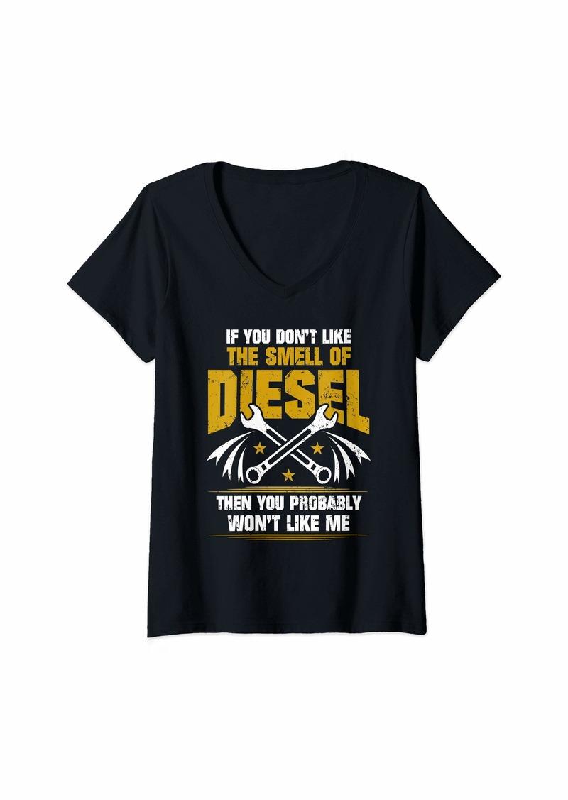 Womens Diesel Mechanic - Don't Like The Smell Of Diesel V-Neck T-Shirt