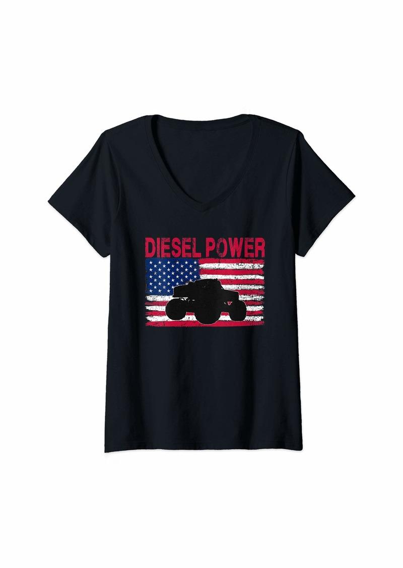 Womens Diesel Power Flag | Truck Turbo Mechanic V-Neck T-Shirt