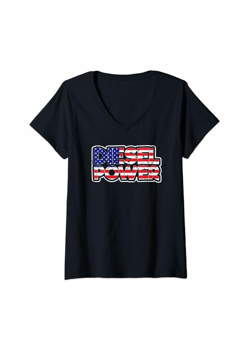 Womens Diesel Power Trucker Mechanic Farmer Diesel Truck Gift V-Neck T-Shirt