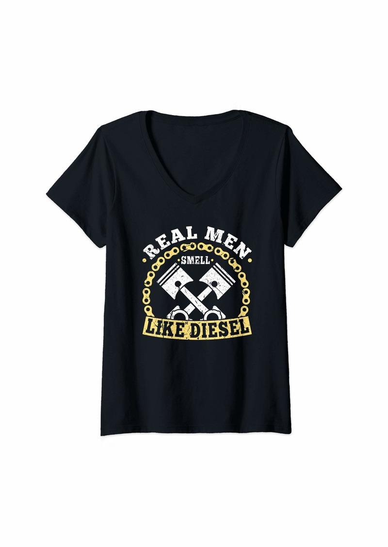 Womens Real Men Smell Like Diesel Mechanic Trucker Farmer Gift V-Neck T-Shirt