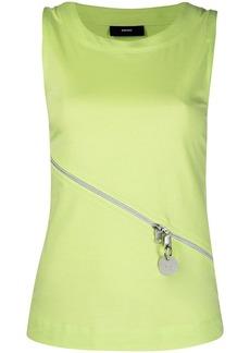 Diesel zip details sleeveless knitted top